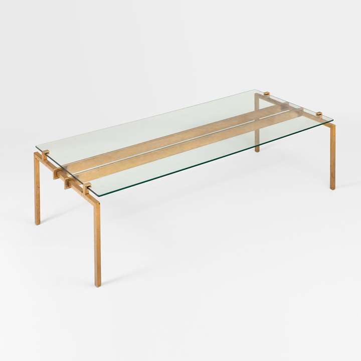 Rare coffee table, metal base
